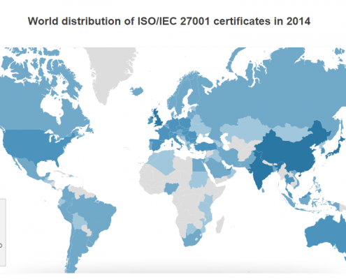 World distribution of ISO_IEC 27001 certificates in 2014